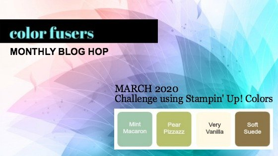 The color scheme for the March 2020 Color Challenge and Blog Hop immediately made me think of the Positive Thoughts Stamp Set and Natures Thoughts Dies.