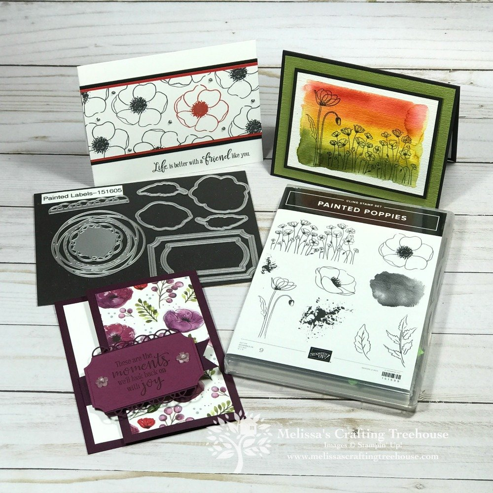 In today's post, I'll be featuring a sneak peek of this month's tutorial bundle featuring three simple Peaceful Poppies card ideas. There's even a fun fold!