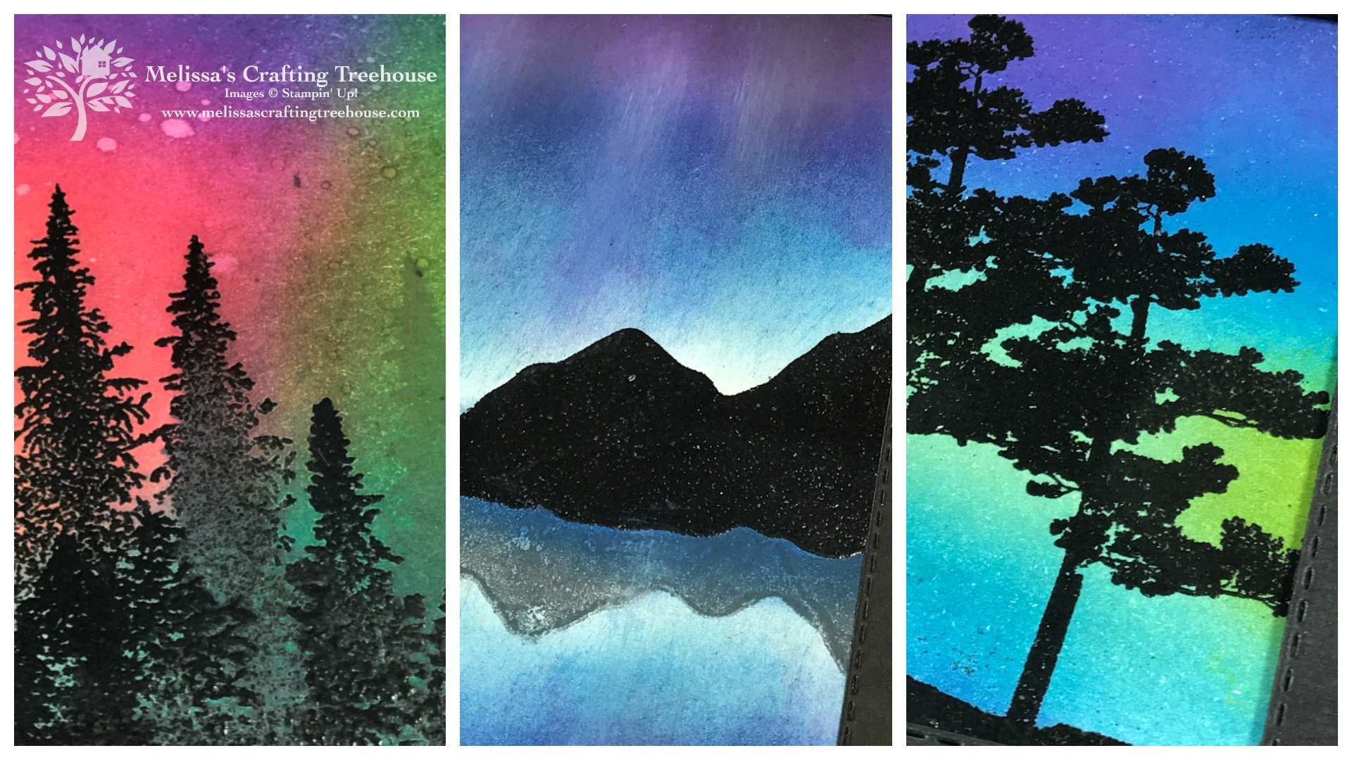 Northern Lights Technique Class with Mountain Air, Snow Front and Rooted In Nature Stamp Sets