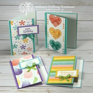 The Pleased as Punch DSP is the featured product on today's cards. This fun, colorful, springtime paper is available only while supplies last!