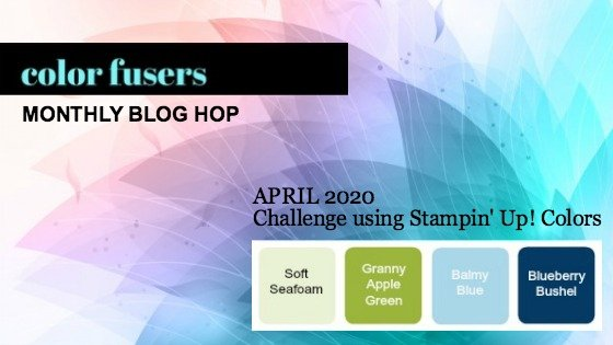 The color scheme for the April 2020 Color Challenge and Blog Hop immediately made me think of the Positive Thoughts Stamp Set and Natures Thoughts Dies.