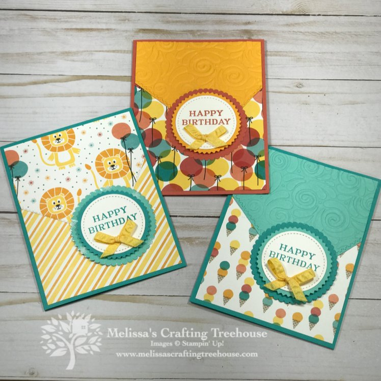 These Birthday Bonanza Stampin' Up! Cards include a super fun element that's easy to create and definitely a Wow! It features the Birthday Bonanza Designer Paper and the Perennial Birthday Stamp Set.
