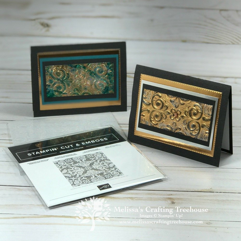 Two Techniques with Parisian Flourish embossing folder are the focus today. See 2 unique cards featuring Gel Medium and the Tarnished Foil Technique.
