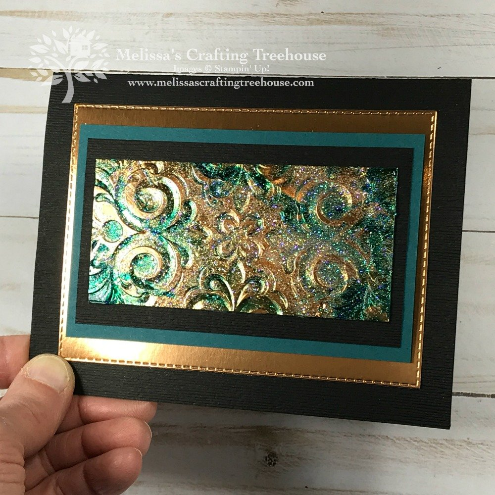 Today's projects feature two techniques with the Parisian Flourish embossing folder. The Tarnished Foil Technique and Gel Medium are used.