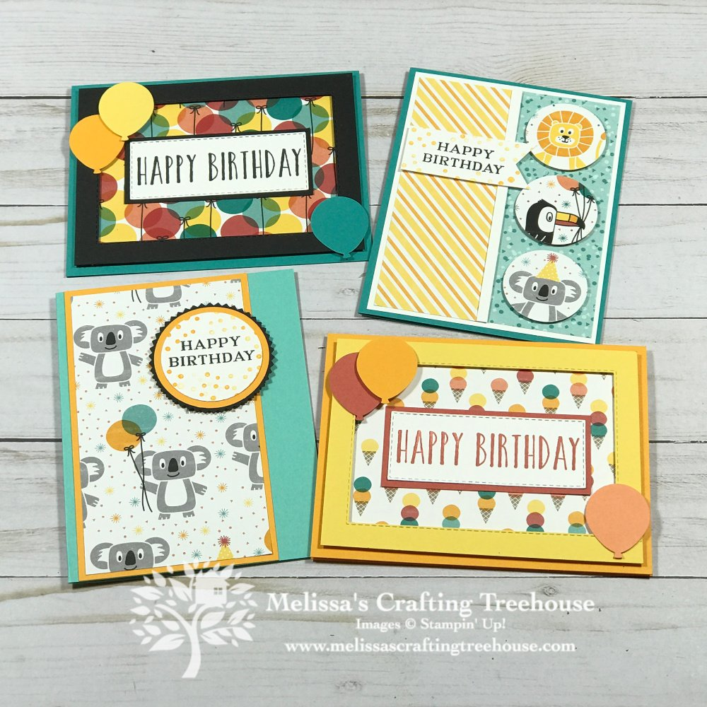 Check out 5 simple birthday cards that feature the Birthday Bonanza designer series paper and a sneak peek into this months tutorial bundle.