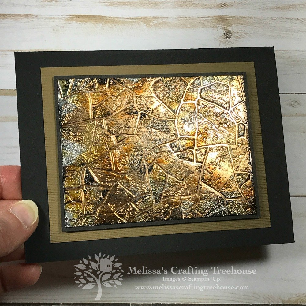 Today's project features the Tarnished Foil Technique with Stone 3-D Embossing Folder! This card is gorgeous and it's a perfect masculine card too!
