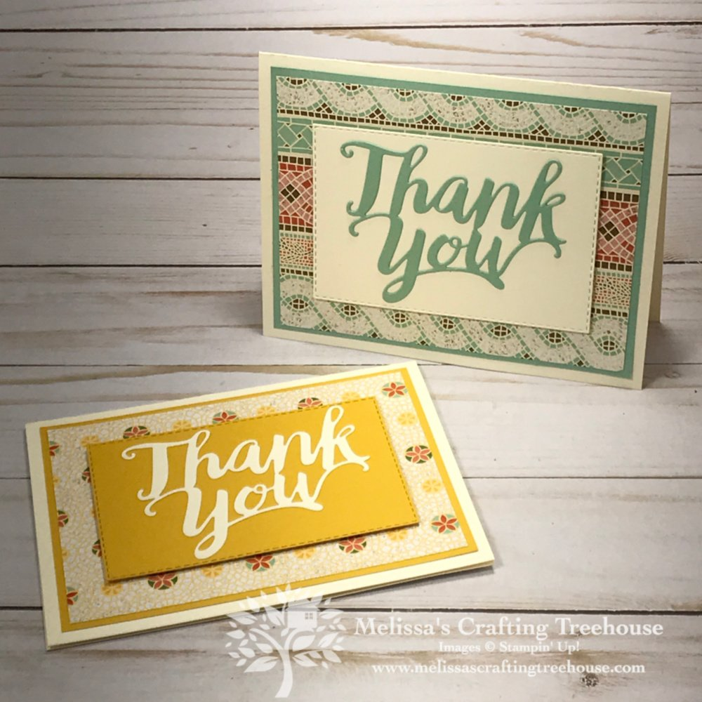 Check out my set of 6 simple Mosaic Mood card ideas with a fun surprise inside!! This designer paper and Thank You Die used, are retiring and discounted!