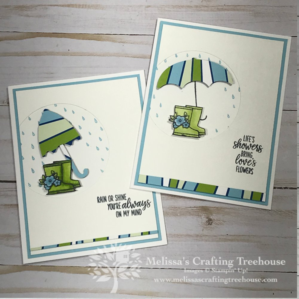 For the April 2020 Color Challenge and Blog Hop I've created some fun, unique projects using the scrappy strips technique with the Under My Umbrella Bundle.