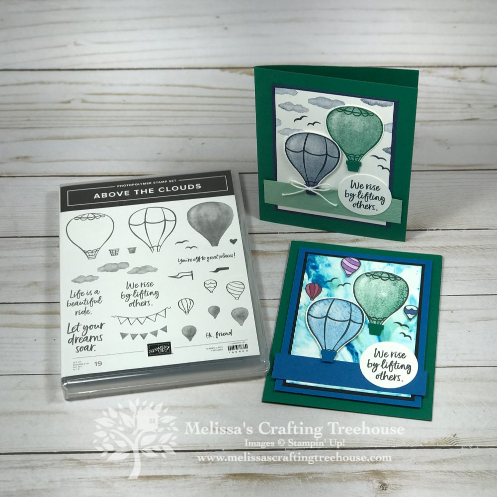 The Above The Clouds Bundle and Shaving Cream Technique are the focus of today's post. See two cards plus more backgrounds made with this fun technique!