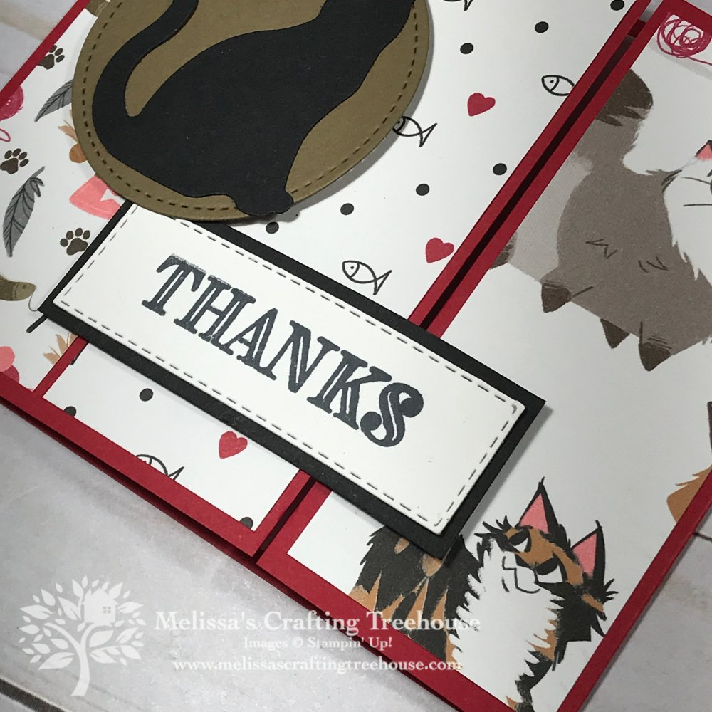 This Playful Pets Paper Fun Fold Card is quick and easy to make! This is a redo of a club and free card kit project made with the Birthday Bonanza Paper.