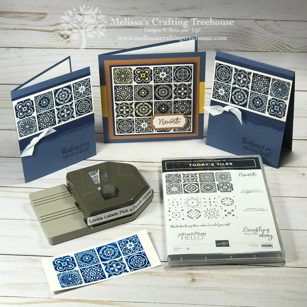 The two cards here made with the Today's Tiles stamp set, were inspired by visions of beautiful blue and white tiles, shiny ceramic plates and clay pots!