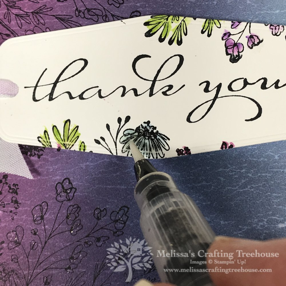 Create a little magic by combining designer paper, stamping, and Wink of Stella with the Stampin' Up! Hand-Drawn Blooms Stamp Set!