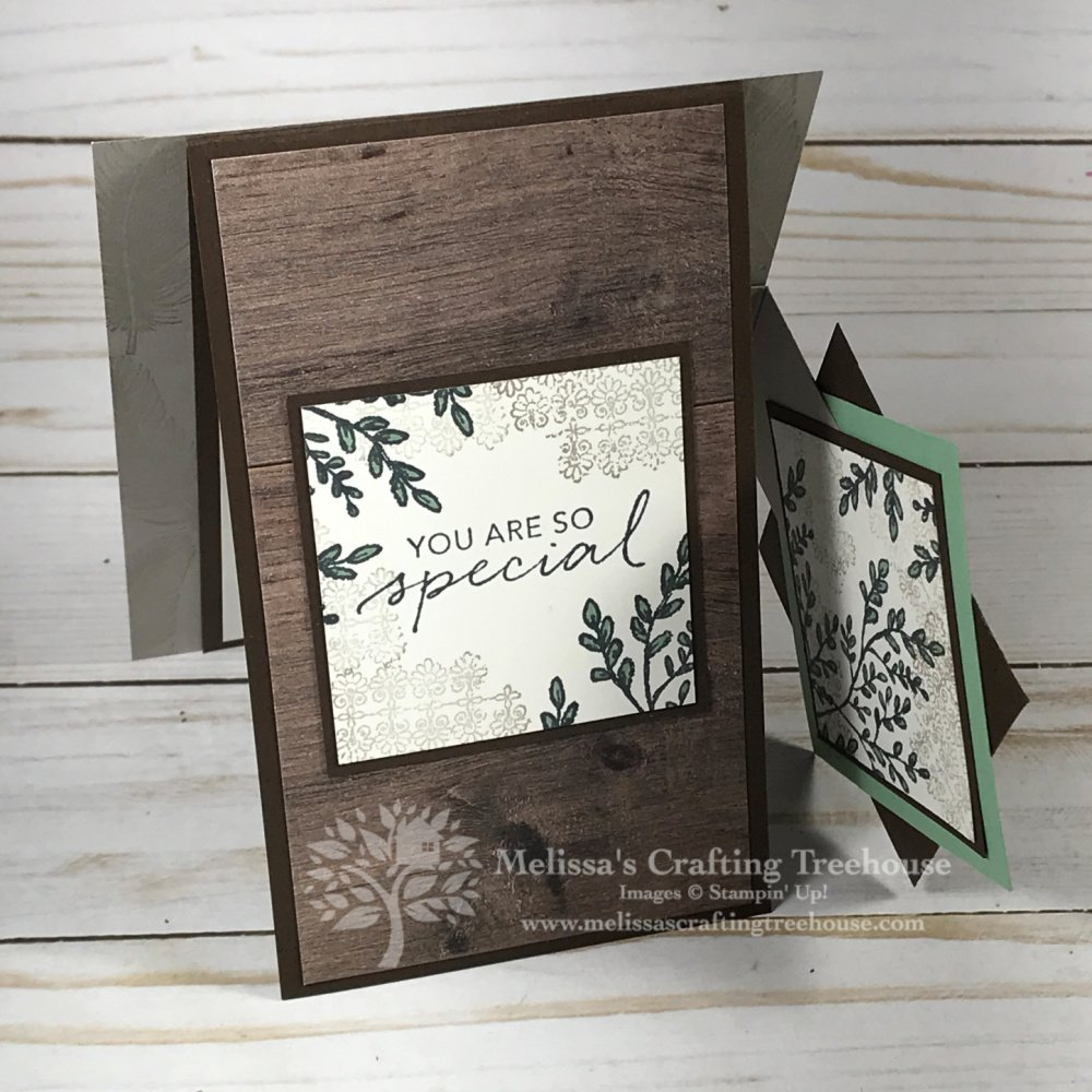 Check out this Fun Fold card with the Tasteful Touches Set! Get a kit to make this and two other projects through my free card kit program. Learn how here!