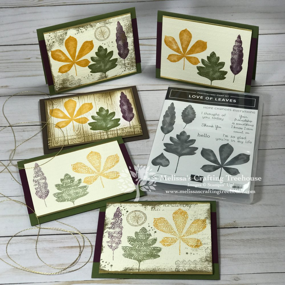 These card ideas with the Love of Leaves set all used embossing folders combined with stamping in 3 ways to achieve a range of results.