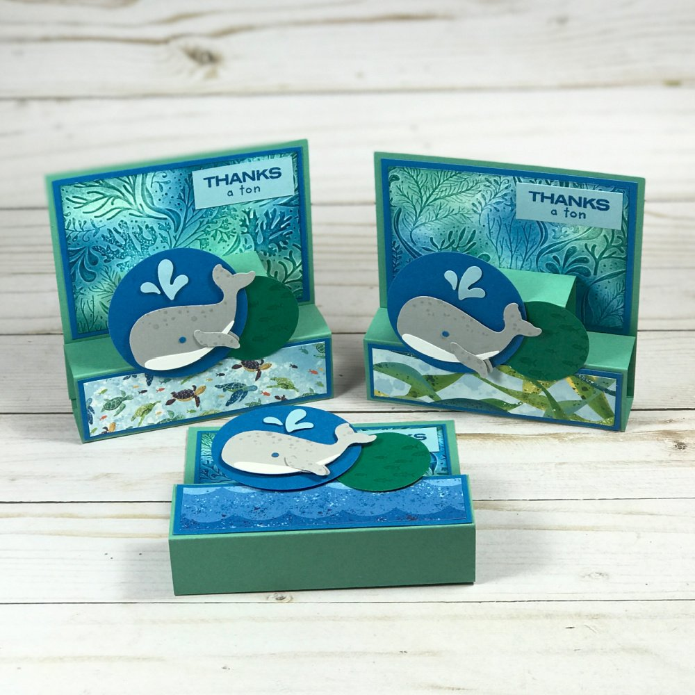 Check out this adorable Whale of a Time Fun Fold Card! Get a kit to make this and two other projects through my free card kit program. Learn how here!