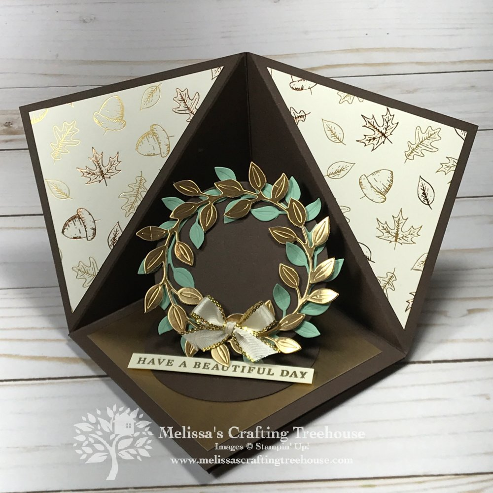 Today's unusual opening card is called a triangle corner pop up card. The project features the Gilded Autumn Suite and Wreath Builder Dies.