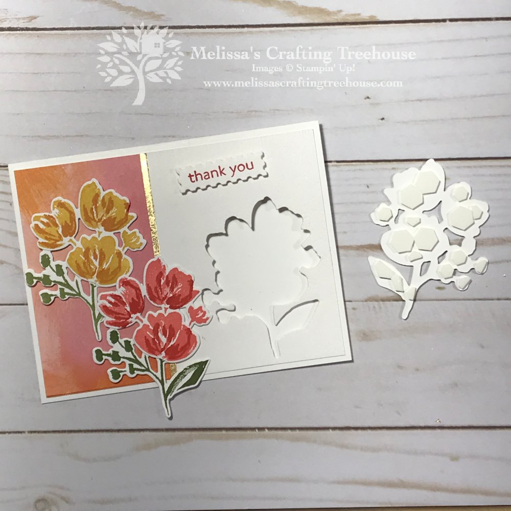 See 3 Projects with the Art Gallery Bundle plus other products in the Fine Art Floral Suite. This layout features a fun die-cut opening!