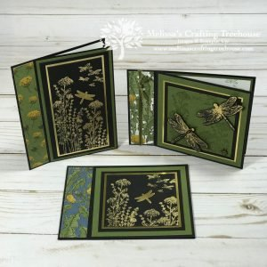 Today's post features 4 book binding fun fold cards, including one XMas card and three made with the Dandy Garden Suite and Gilded Foiling!