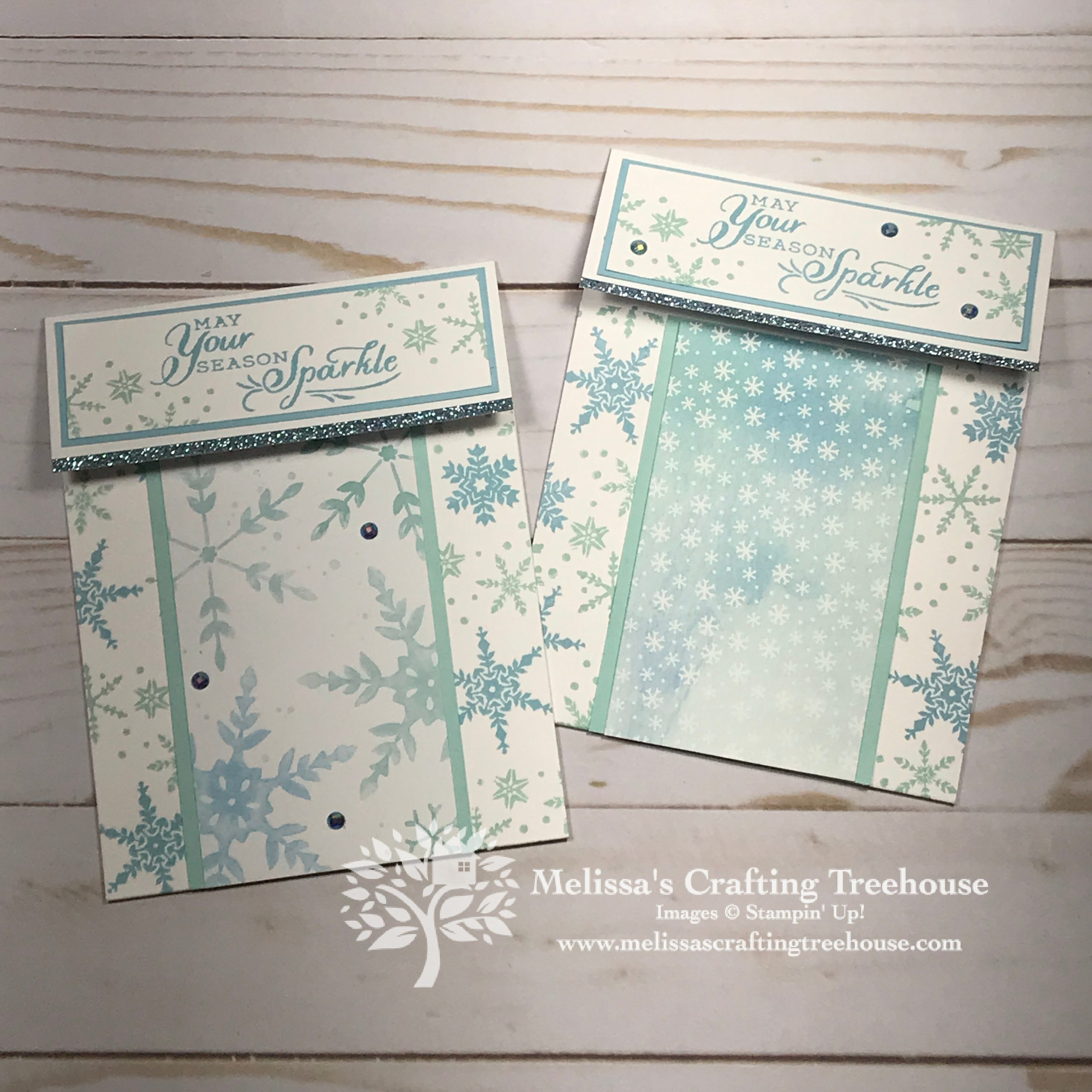 Unusual Pop Up Gift Card Holder with Snowflake Wishes Set