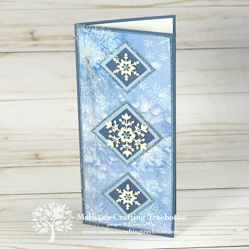 Learn how to make 3 projects created with the Stampin' Up! So Many Snowflakes Dies! Includes a STUNNING slimline card you won't want to miss!
