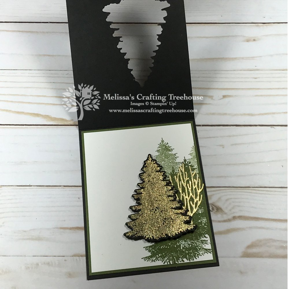 Today's project features Gilded Leafing with the Winter Woods Set, plus a fun die-cut opening with a surprise inside.