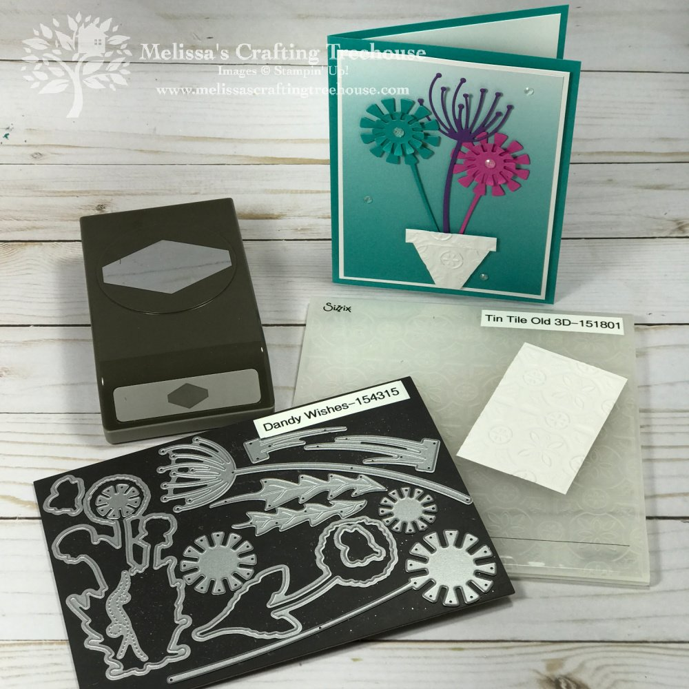 For the February 2021 Color Challenge and Blog Hop I'm featuring the Dandy Wishes Dies, Tailored Tag Punch & the Tin Tile Embossing folder.
