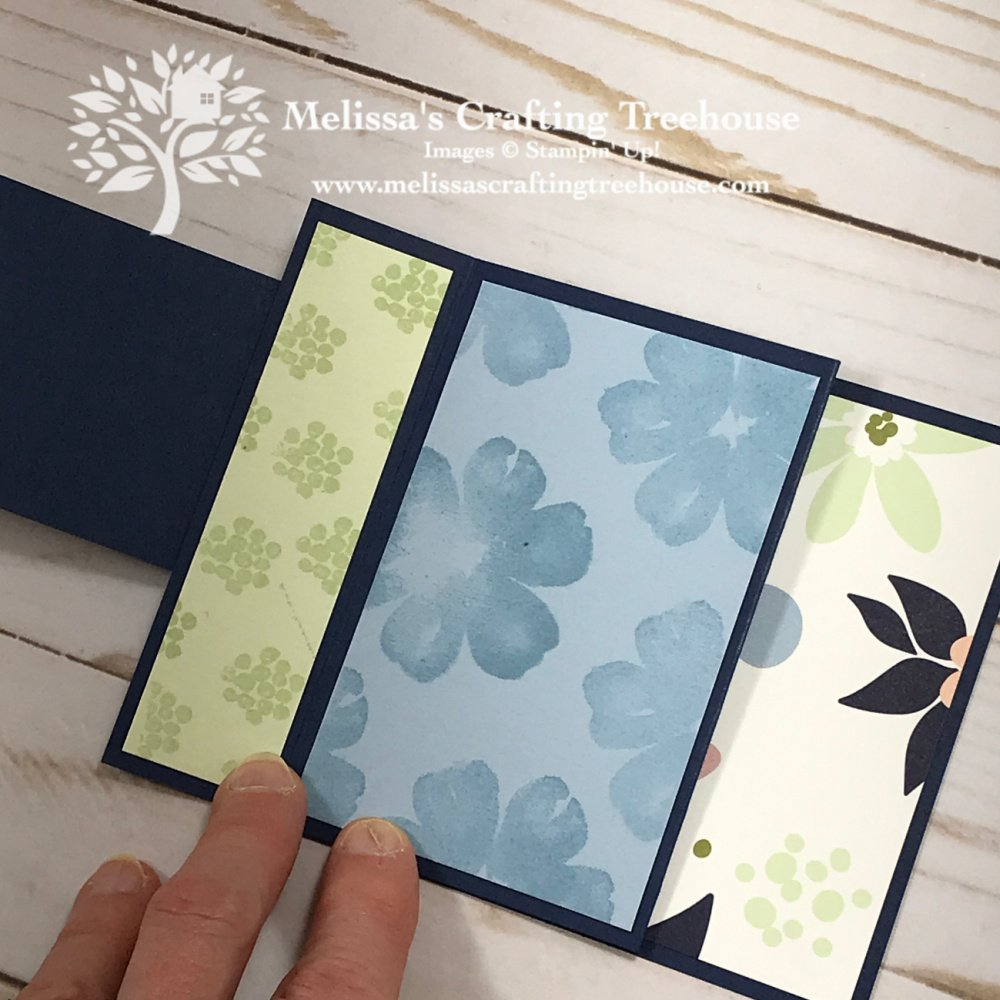 How to make an M-Fold Card with the Pretty Perennials Stamp Set and the Paper Blooms paper. Get this paper free during Sale-A-Bration!