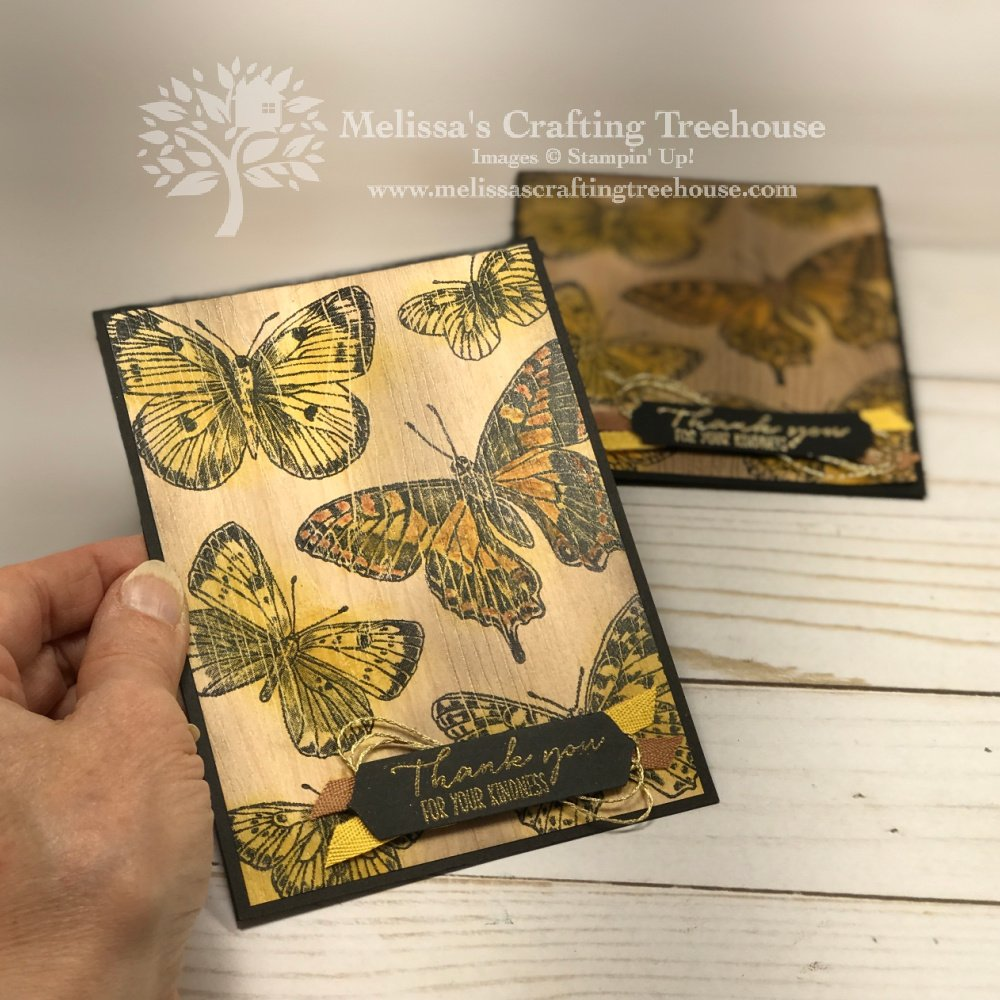 My 18 year anniversary celebration continues with the Butterfly Brilliance Stamp Set paired with the Natural Touch Designer Paper.