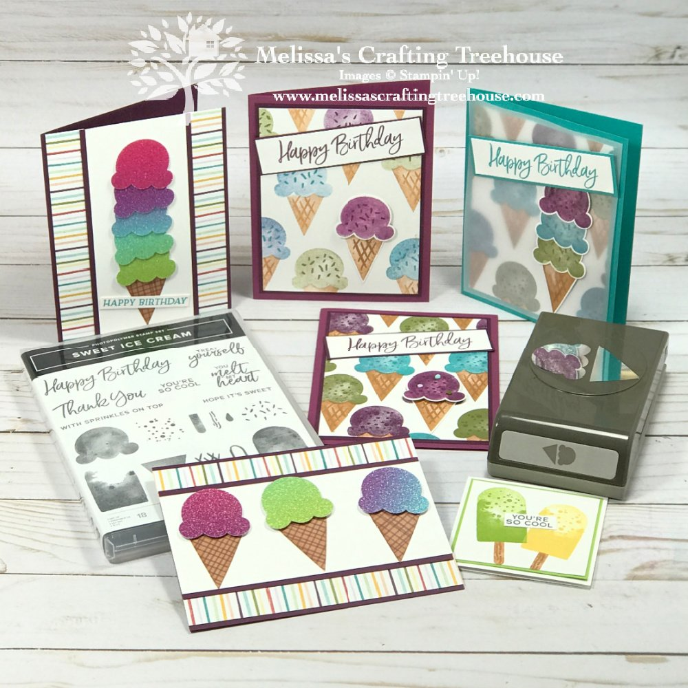 Learn how to Make 5 Handmade Cards with the Sweet Ice Cream bundle by Stampin' Up! These are sneak peeks of this month's tutorial bundle.