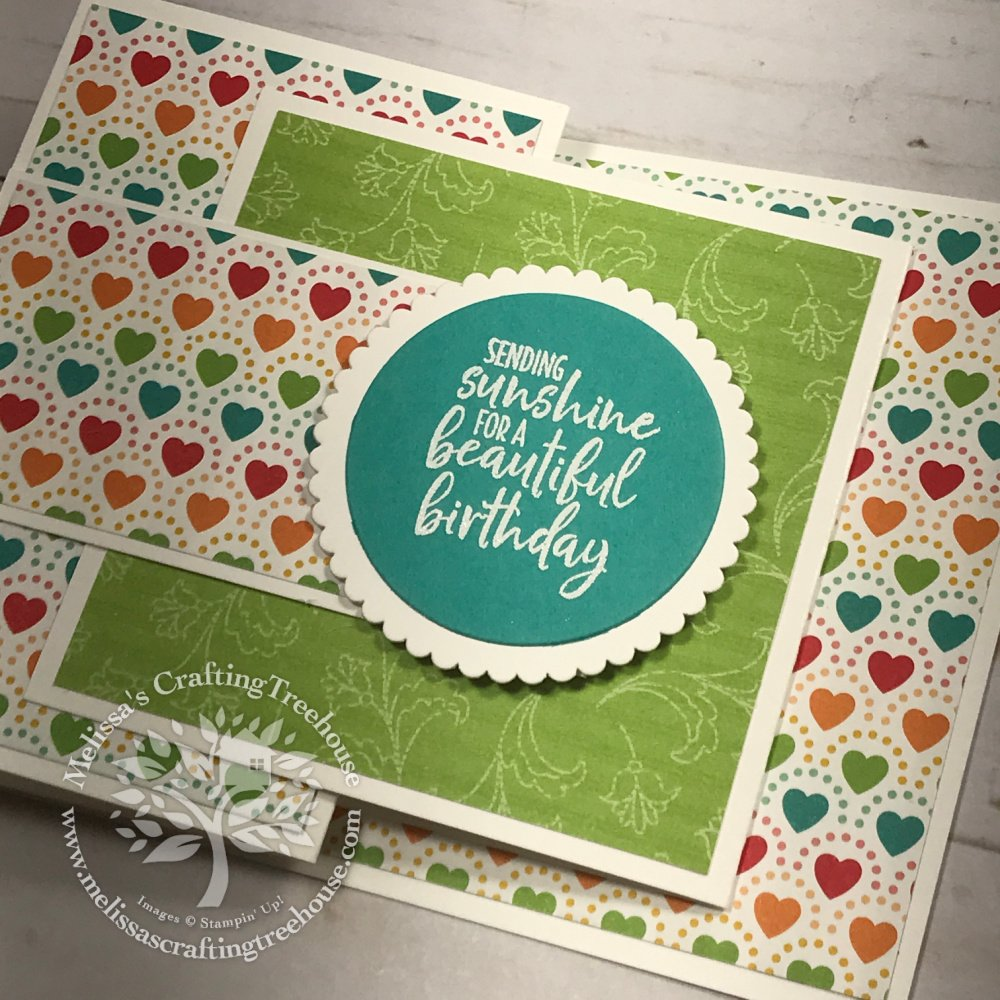 Today's joy fold card tutorial includes a set of colorful cards with a latch closure. These feature the awesome Pattern Party designer paper!