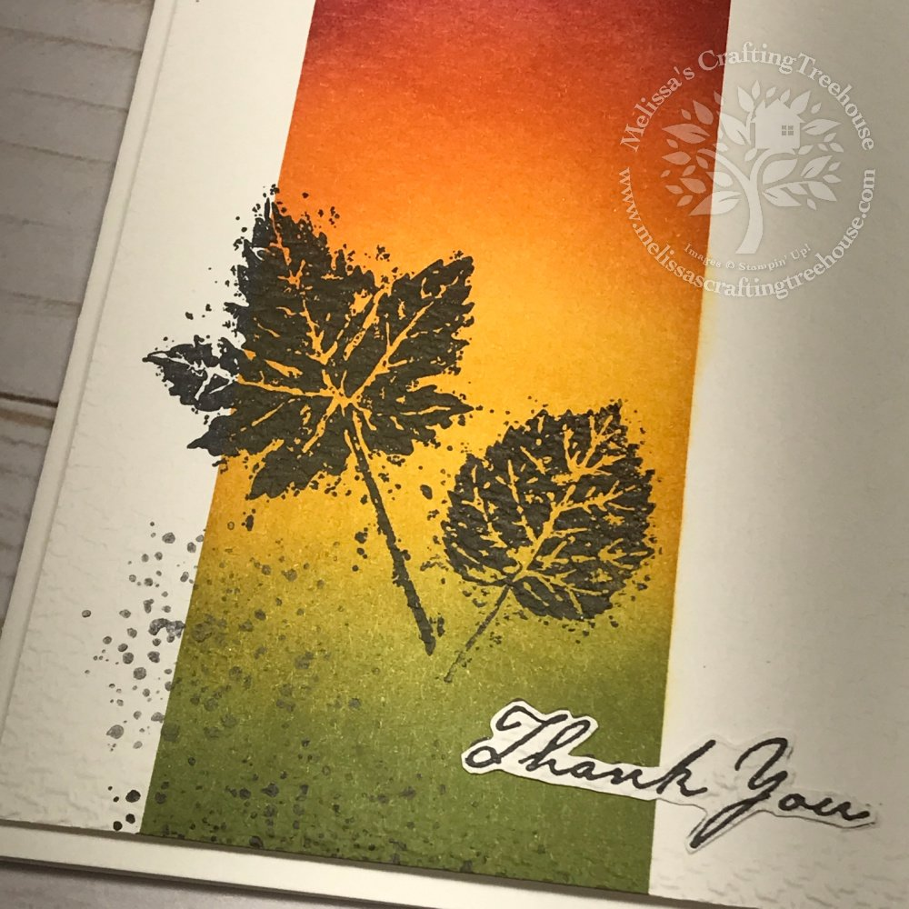 Today's project is a clean & simple card with a wow! It features the masking technique with the Gorgeous Leaves Stamp Set and autumn colors.