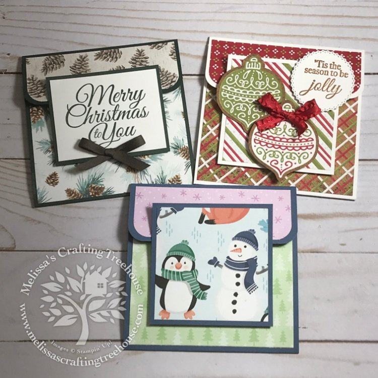 These are so quick and easy to design and make! I've used three different designer papers to create these 3 Christmas Gift Card Holders.